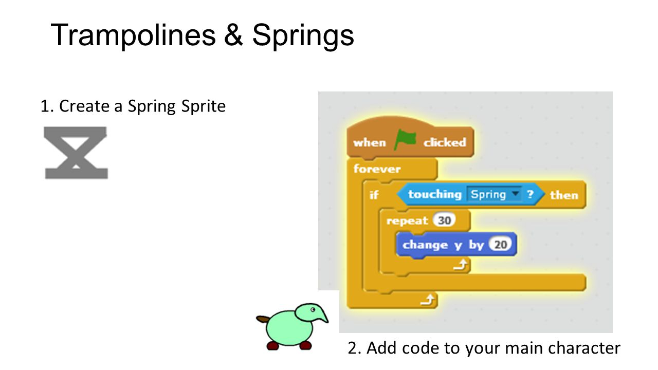 Trampolines & Springs 1. Create a Spring Sprite 2. Add code to your main character