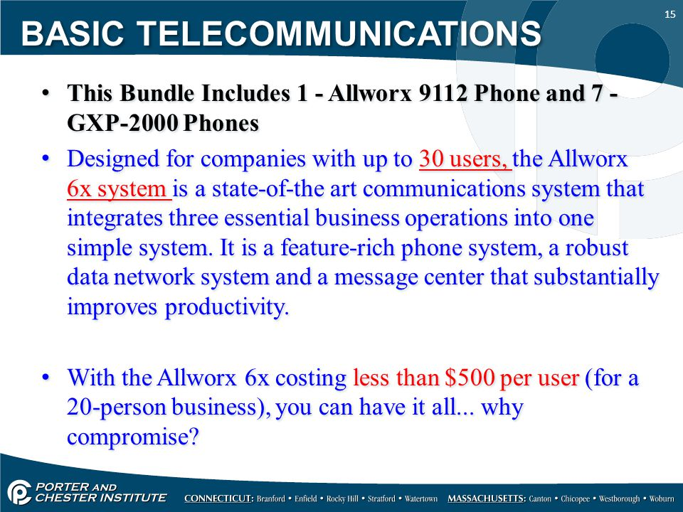 15 This Bundle Includes 1 - Allworx 9112 Phone and 7 - GXP-2000 Phones Designed for companies with up to 30 users, the Allworx 6x system is a state-of-the art communications system that integrates three essential business operations into one simple system.