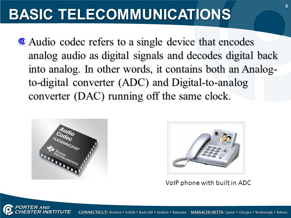 8 Audio codec refers to a single device that encodes analog audio as digital signals and decodes digital back into analog.