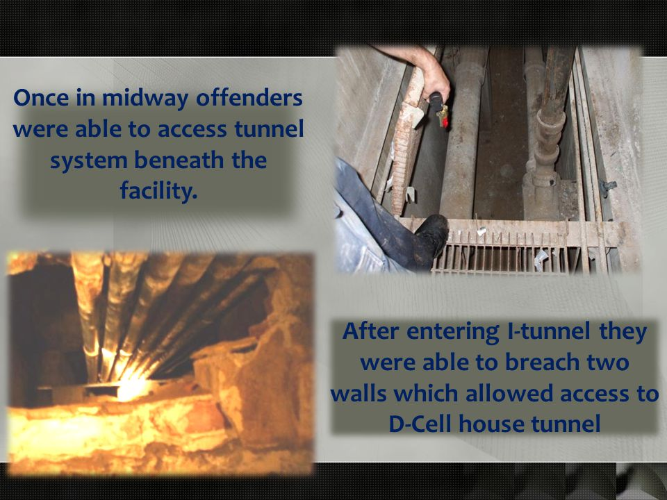 Once in midway offenders were able to access tunnel system beneath the facility.