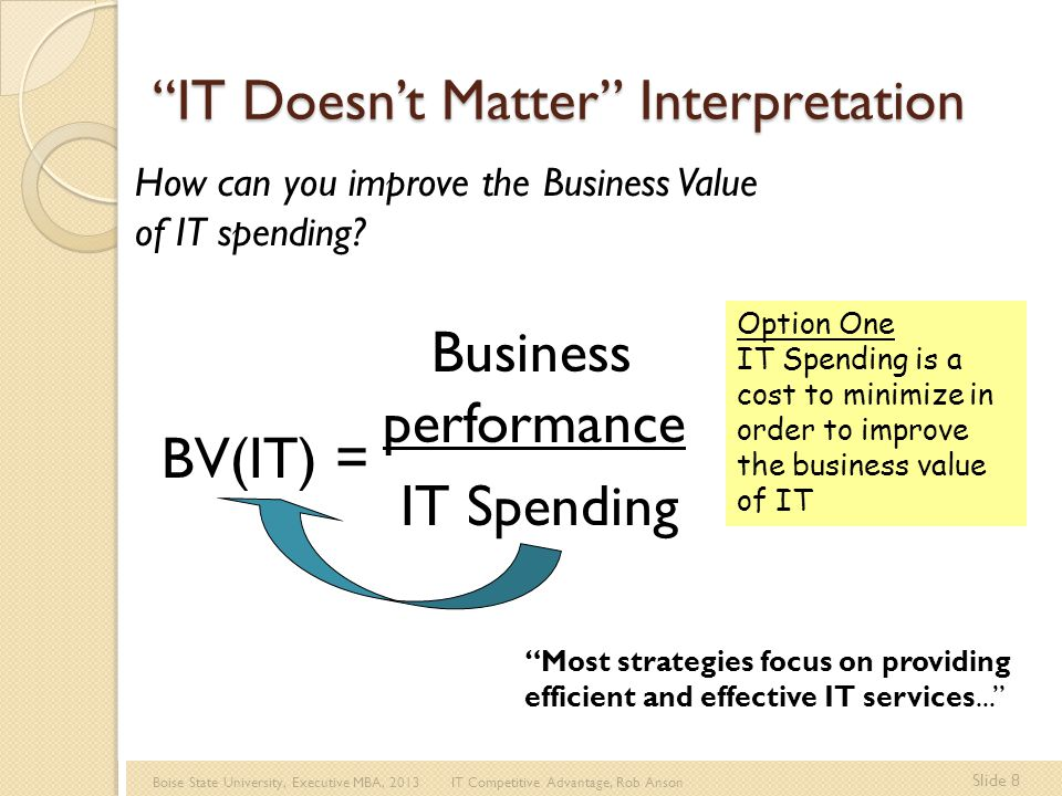 Boise State University, Executive MBA, 2013 IT Competitive Advantage, Rob Anson Slide 9 BV(IT) = Business performance IT Spending Option Two IT Spending is a critical factor in achieving Business Performance.