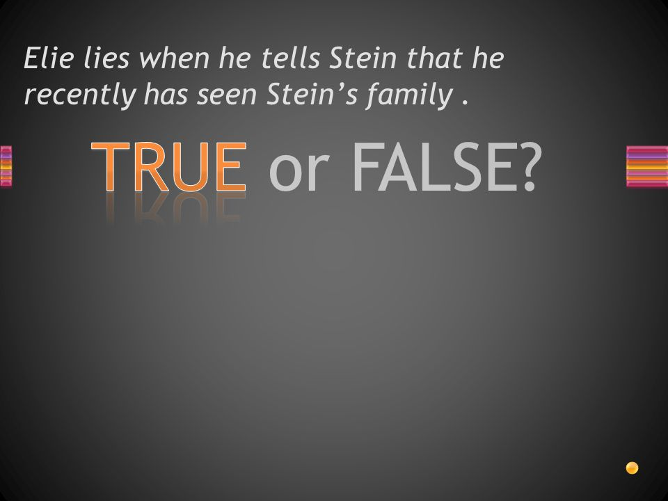 TRUE or FALSE? Elie lies when he tells Stein that he recently has seen Stein's family.