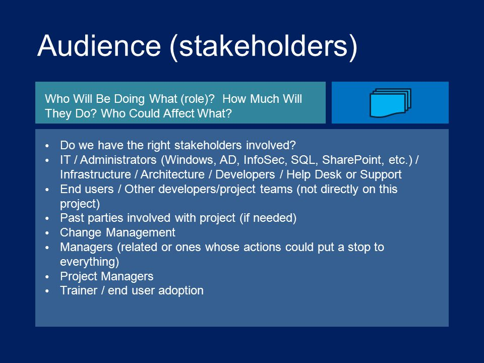 Audience (stakeholders) Who Will Be Doing What (role).