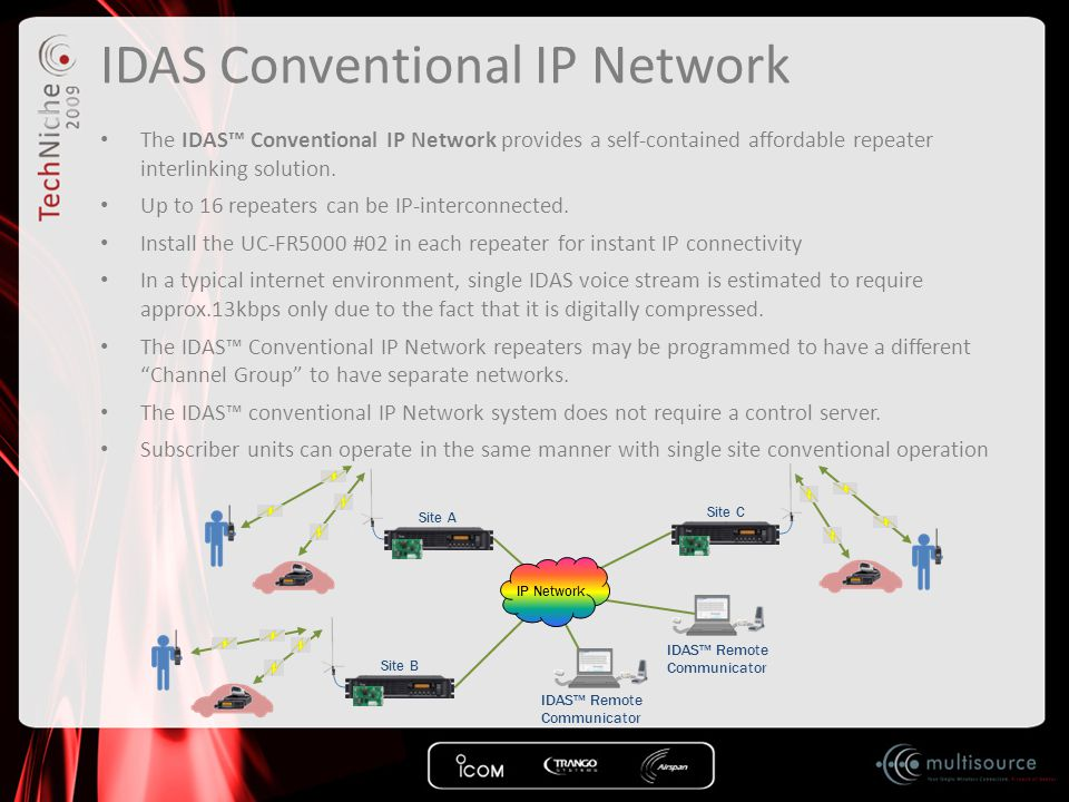 IDAS Conventional IP Network The IDAS™ Conventional IP Network provides a self-contained affordable repeater interlinking solution. Up to 16 repeaters