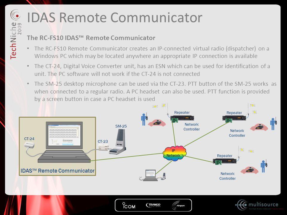 IDAS Remote Communicator The RC-FS10 IDAS™ Remote Communicator The RC-FS10 Remote Communicator creates an IP-connected virtual radio (dispatcher) on a