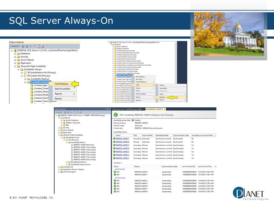 © 2011 PLANET TECHNOLOGIES, INC. SQL Server Always-On