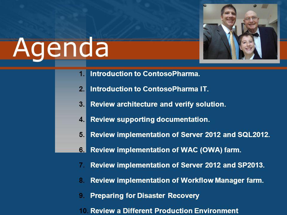 Agenda 1.Introduction to ContosoPharma. 2.Introduction to ContosoPharma IT.
