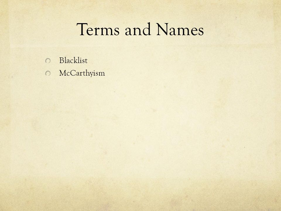 Terms and Names Blacklist McCarthyism