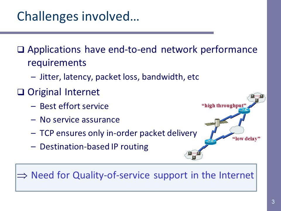 Multiple QoS Constraints  The Internet evolves towards the global multiservice IP network –Diverse applications and different QoS requirements  Many applications have multiple QoS requirements –Video streaming, VoIP, Video conferencing, etc.