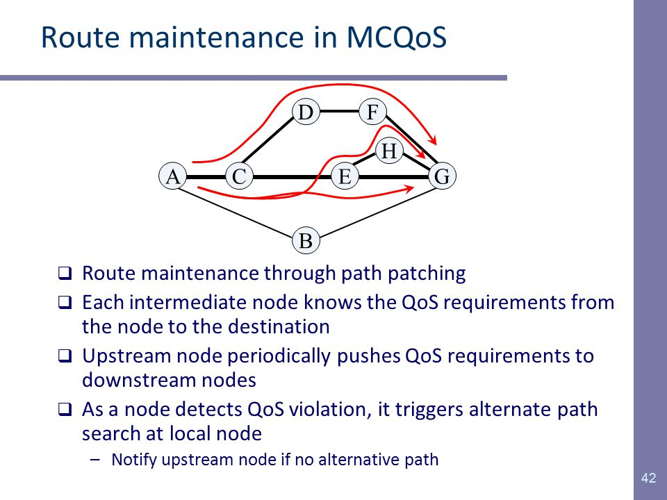 Route maintenance in MCQoS  Route maintenance through path patching  Each intermediate node knows the QoS requirements from the node to the destination  Upstream node periodically pushes QoS requirements to downstream nodes  As a node detects QoS violation, it triggers alternate path search at local node –Notify upstream node if no alternative path 42 AG B E H FD C