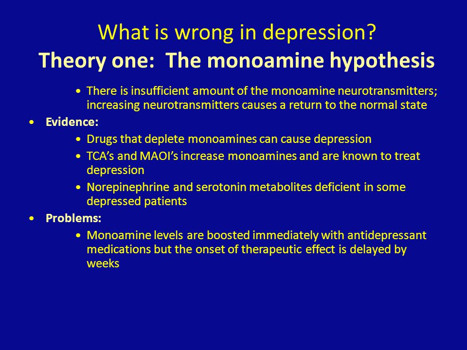 What is wrong in depression? Theory one: The monoamine hypothesis There is insufficient amount of the monoamine neurotransmitters; increasing neurotra