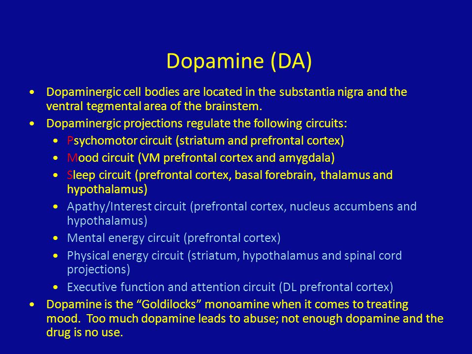 Dopamine (DA) Dopaminergic cell bodies are located in the substantia nigra and the ventral tegmental area of the brainstem. Dopaminergic projections r
