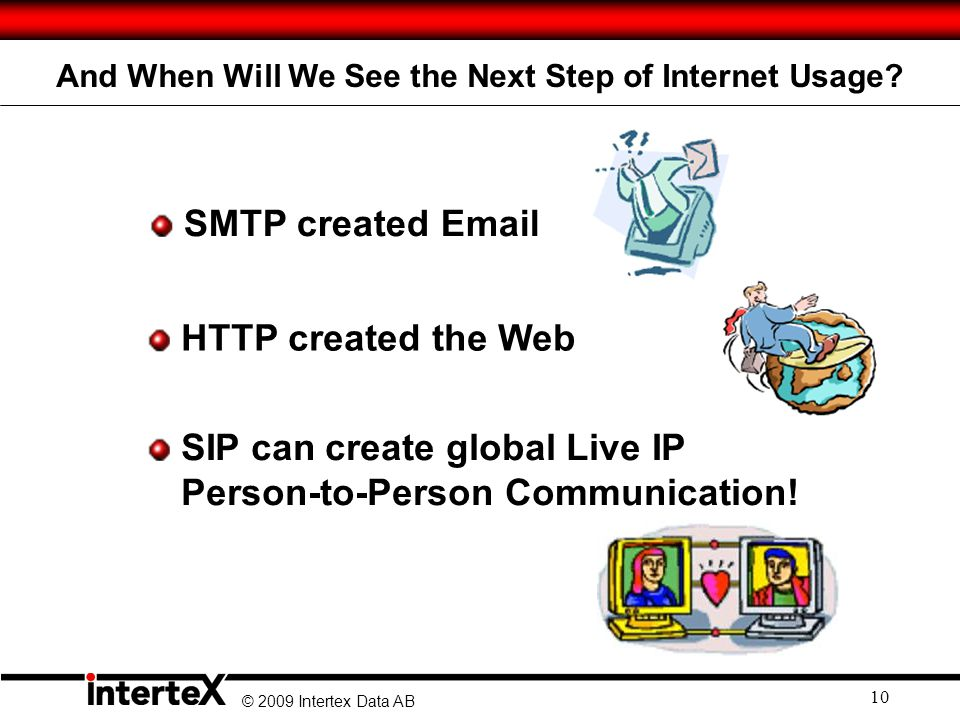 © 2009 Intertex Data AB 10 HTTP created the Web SMTP created Email SIP can create global Live IP Person-to-Person Communication.