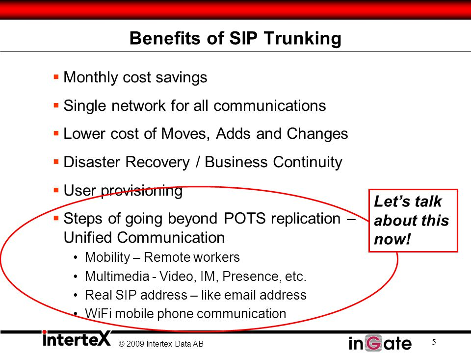 © 2009 Intertex Data AB 5 Benefits of SIP Trunking  Monthly cost savings  Single network for all communications  Lower cost of Moves, Adds and Changes  Disaster Recovery / Business Continuity  User provisioning  Steps of going beyond POTS replication – Unified Communication Mobility – Remote workers Multimedia - Video, IM, Presence, etc.