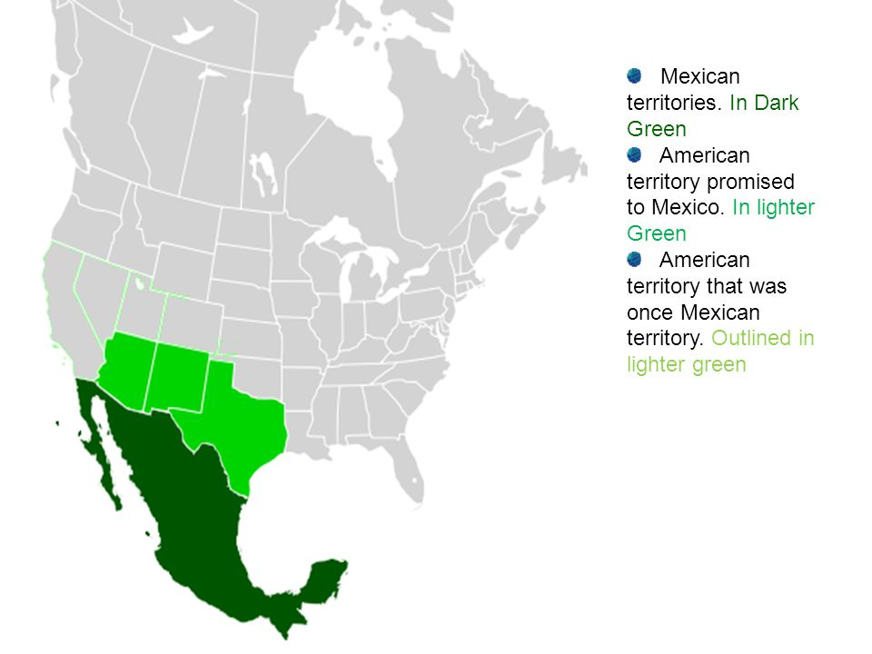 Mexican territories. In Dark Green American territory promised to Mexico. In lighter Green American territory that was once Mexican territory. Outline