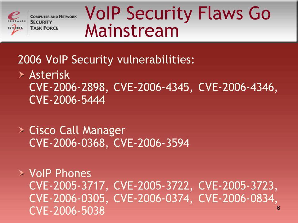 6 VoIP Security Flaws Go Mainstream 2006 VoIP Security vulnerabilities: Asterisk CVE-2006-2898, CVE-2006-4345, CVE-2006-4346, CVE-2006-5444 Cisco Call