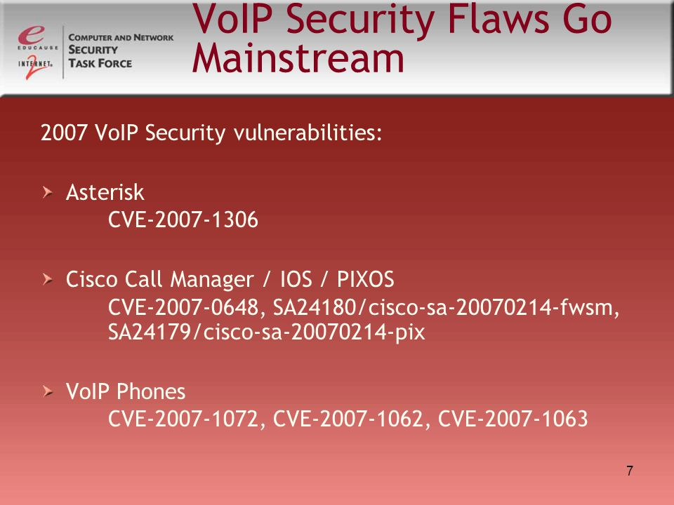 7 VoIP Security Flaws Go Mainstream 2007 VoIP Security vulnerabilities: Asterisk CVE-2007-1306 Cisco Call Manager / IOS / PIXOS CVE-2007-0648, SA24180