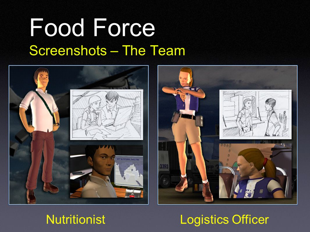Food Force Screenshots – The Team NutritionistLogistics Officer