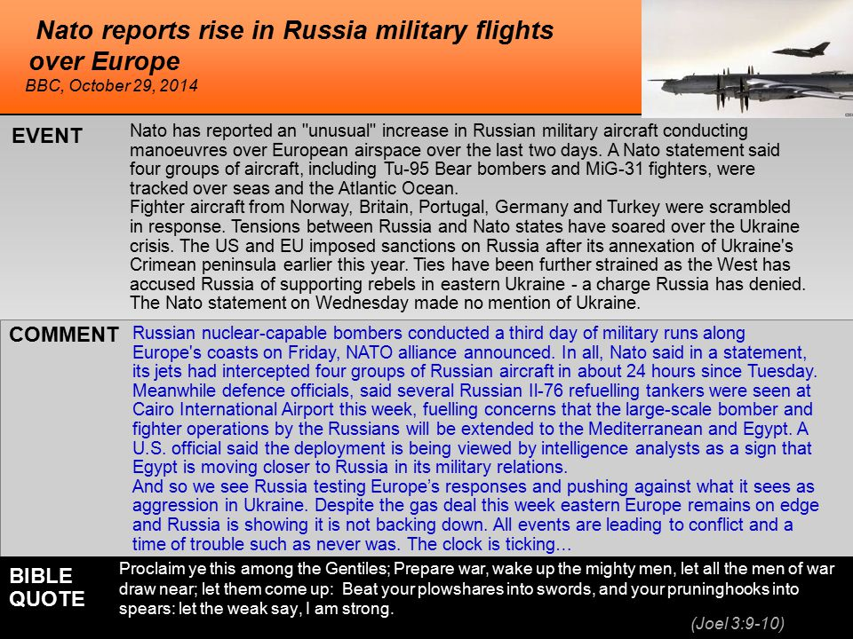 he Nato reports rise in Russia military flights over Europe Nato has reported an unusual increase in Russian military aircraft conducting manoeuvres over European airspace over the last two days.