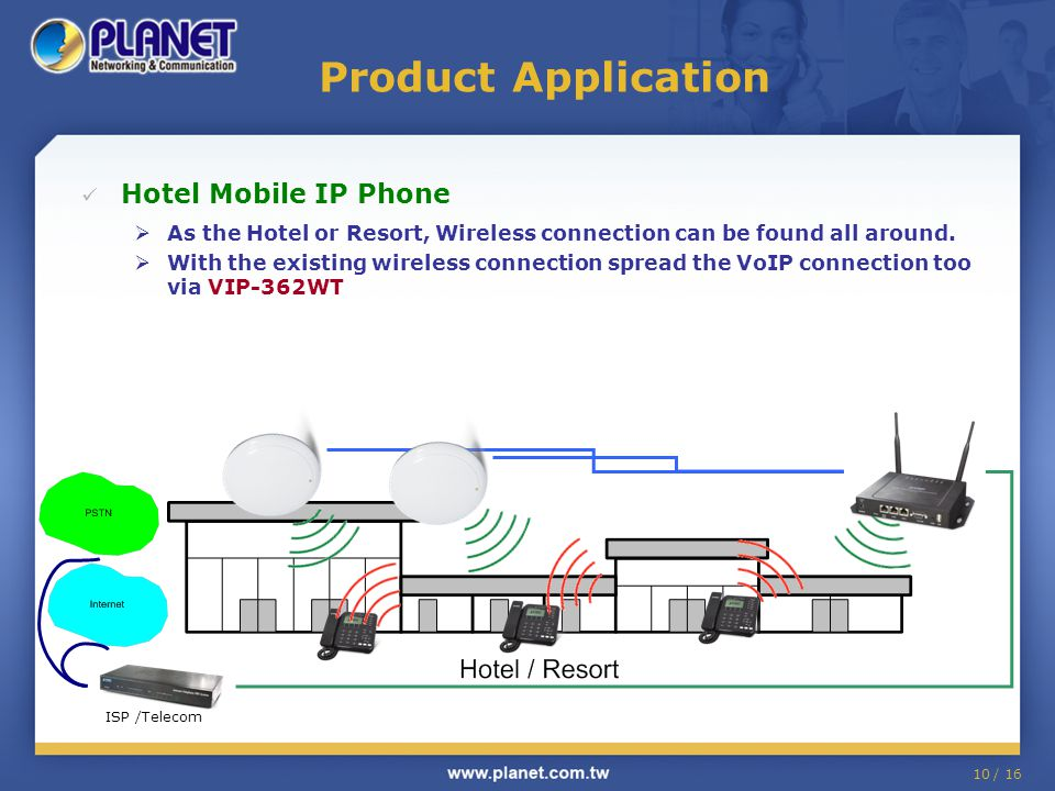10 / 16 Product Application Hotel Mobile IP Phone  As the Hotel or Resort, Wireless connection can be found all around.