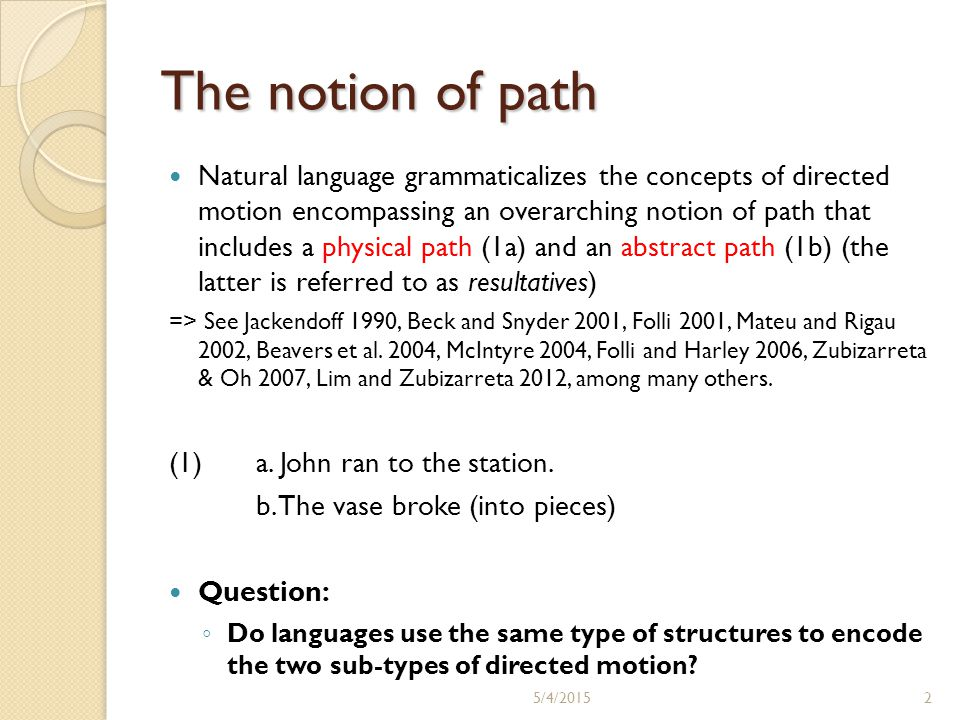 The notion of path Natural language grammaticalizes the concepts of directed motion encompassing an overarching notion of path that includes a physica