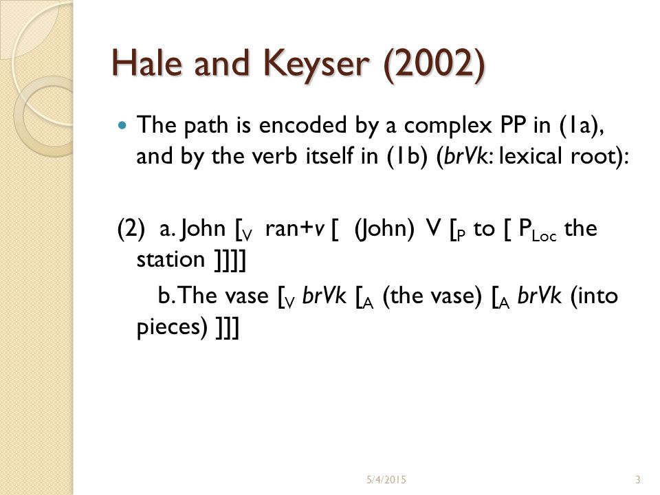 Hale and Keyser (2002) The path is encoded by a complex PP in (1a), and by the verb itself in (1b) (brVk: lexical root): (2) a. John [ V ran+v [ (John