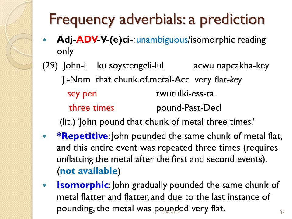 Frequency adverbials: a prediction Adj-ADV-V-(e)ci-: unambiguous/isomorphic reading only (29) John-i ku soystengeli-lul acwu napcakha-key J.-Nom that chunk.of.metal-Acc very flat-key sey pen twutulki-ess-ta.
