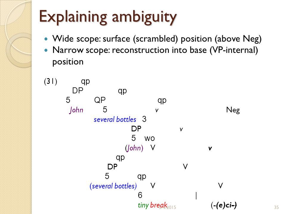 Explaining ambiguity Wide scope: surface (scrambled) position (above Neg) Narrow scope: reconstruction into base (VP-internal) position (31) qp DP qp