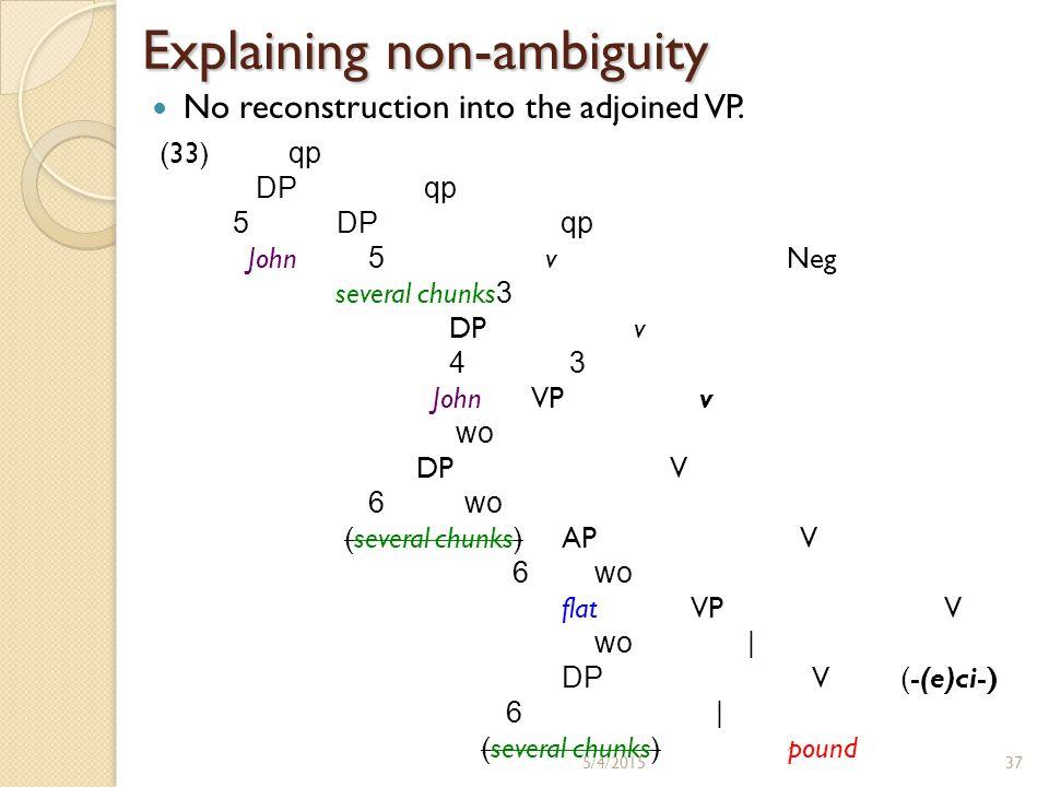 Interaction between Neg and Q (cont.) Dependent reading (not few  many) in SVC headed by ka-: unavailable (34)John-i cengwen-ey kong myech kay-lul John-Nomgarden-Loc ball few CL-Acc cha ka-cianh-ass-ta kick go-Neg-Past-Decl i) ?.