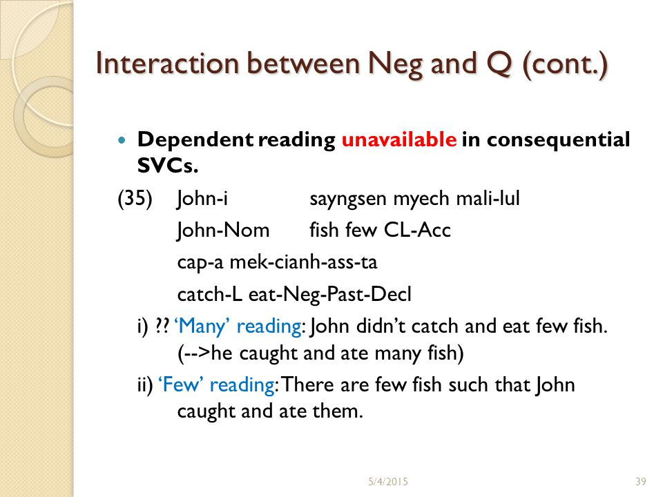 Interaction between Neg and Q (cont.) Dependent reading unavailable in consequential SVCs. (35)John-i sayngsen myech mali-lul John-Nomfish few CL-Acc