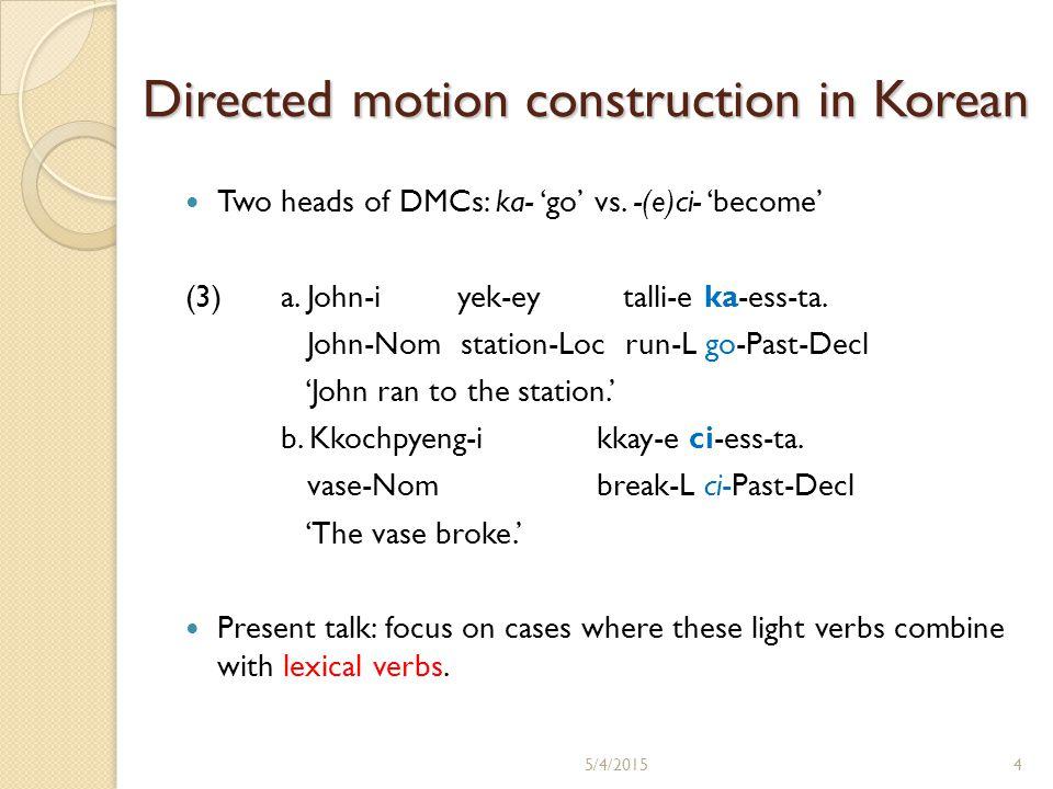 Directed motion construction in Korean Two heads of DMCs: ka- 'go' vs.