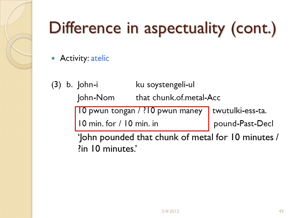 Difference in aspectuality (cont.) Activity: atelic (3) b.