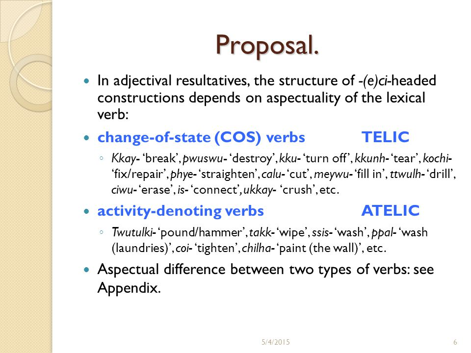 Proposal. In adjectival resultatives, the structure of -(e)ci-headed constructions depends on aspectuality of the lexical verb: change-of-state (COS)