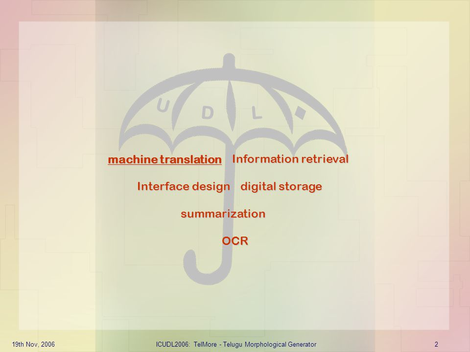 19th Nov, 2006ICUDL2006: TelMore - Telugu Morphological Generator2 machine translation summarization Information retrieval Interface design digital st