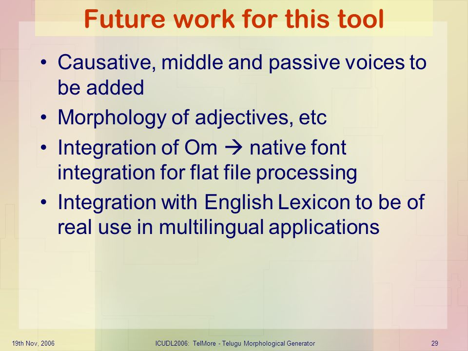 19th Nov, 2006ICUDL2006: TelMore - Telugu Morphological Generator29 Future work for this tool Causative, middle and passive voices to be added Morphol