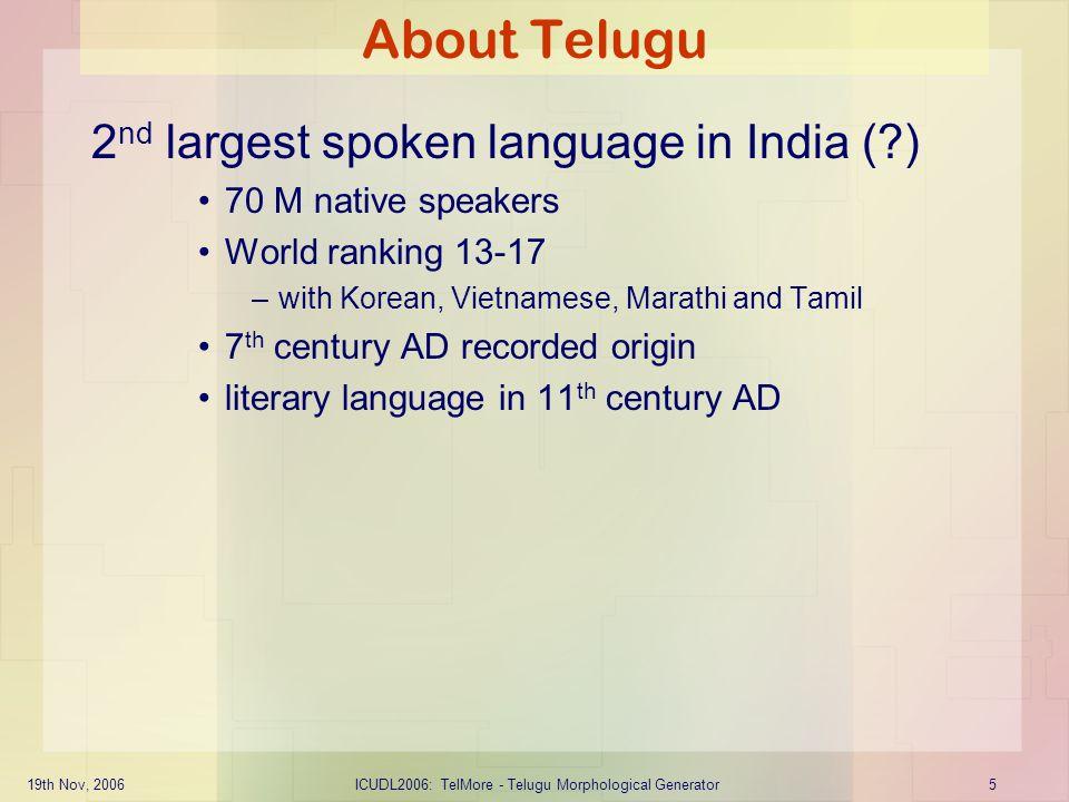 19th Nov, 2006ICUDL2006: TelMore - Telugu Morphological Generator6 Parts of Speech: Noun Number: singular, plural Gender: male, female, neutral Morphological forms: (vibhaktulu) –nominative, genitive, dative, accusative, vocative, instrumental and locative 14 forms for each noun