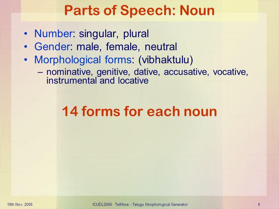19th Nov, 2006ICUDL2006: TelMore - Telugu Morphological Generator27 Verb: Third Conjugation