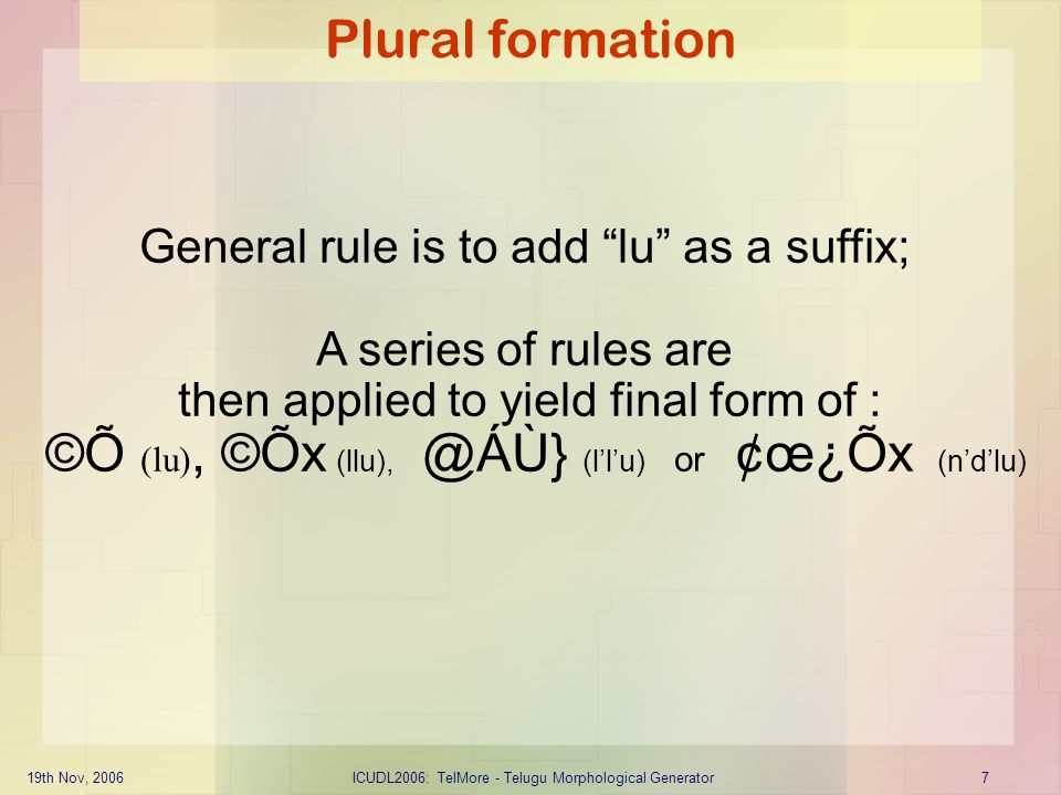 "19th Nov, 2006ICUDL2006: TelMore - Telugu Morphological Generator7 Plural formation General rule is to add ""lu"" as a suffix; A series of rules are the"