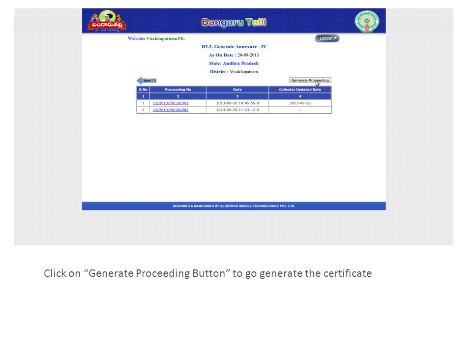 23 PD has to enter IAS officer name in above selected box and click on the verified check box, then Browse button will be enabled for on submit button.
