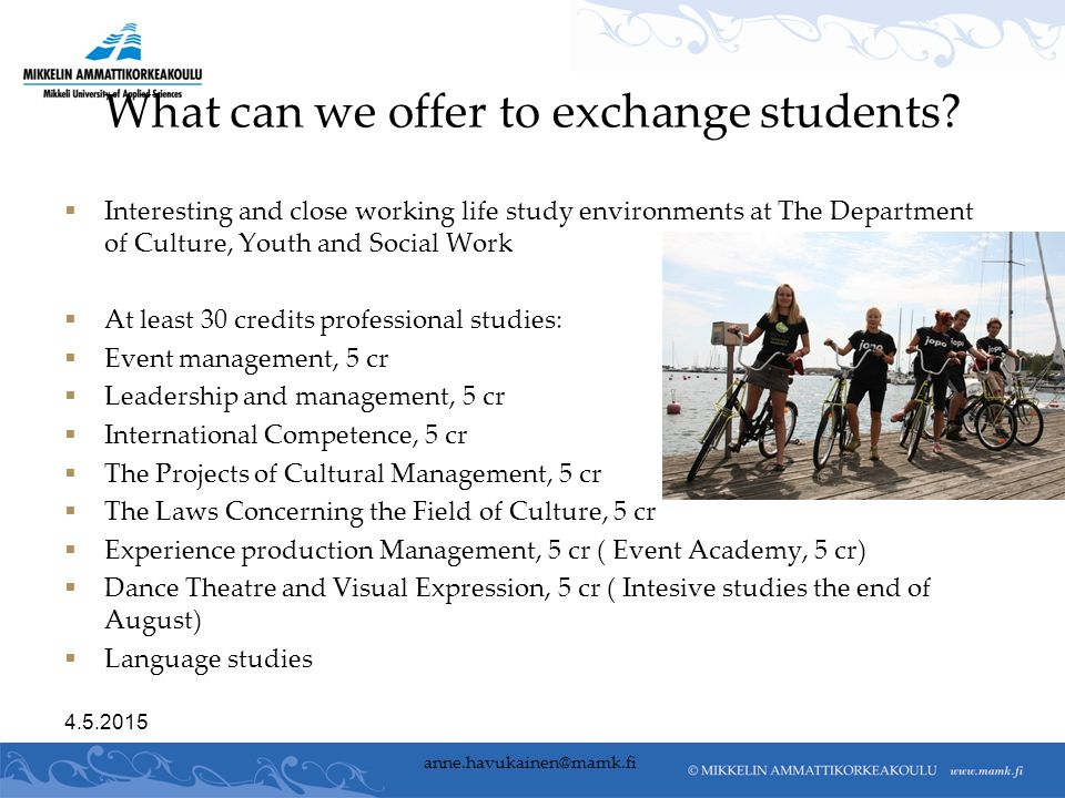 What can we offer to exchange students.