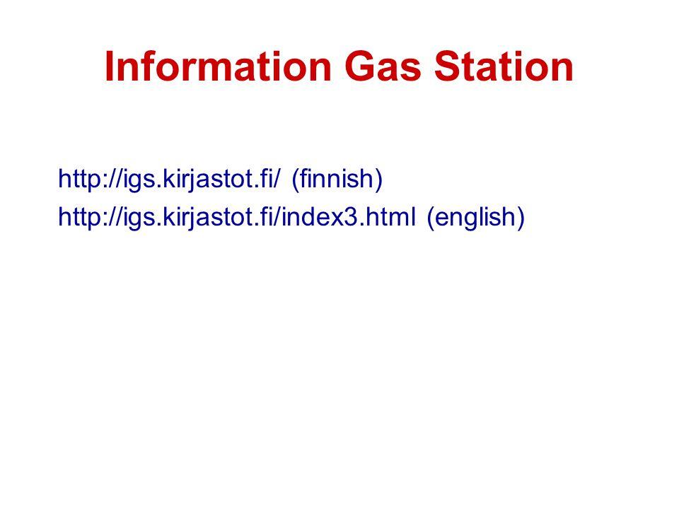 Information Gas Station http://igs.kirjastot.fi/ (finnish) http://igs.kirjastot.fi/index3.html (english)