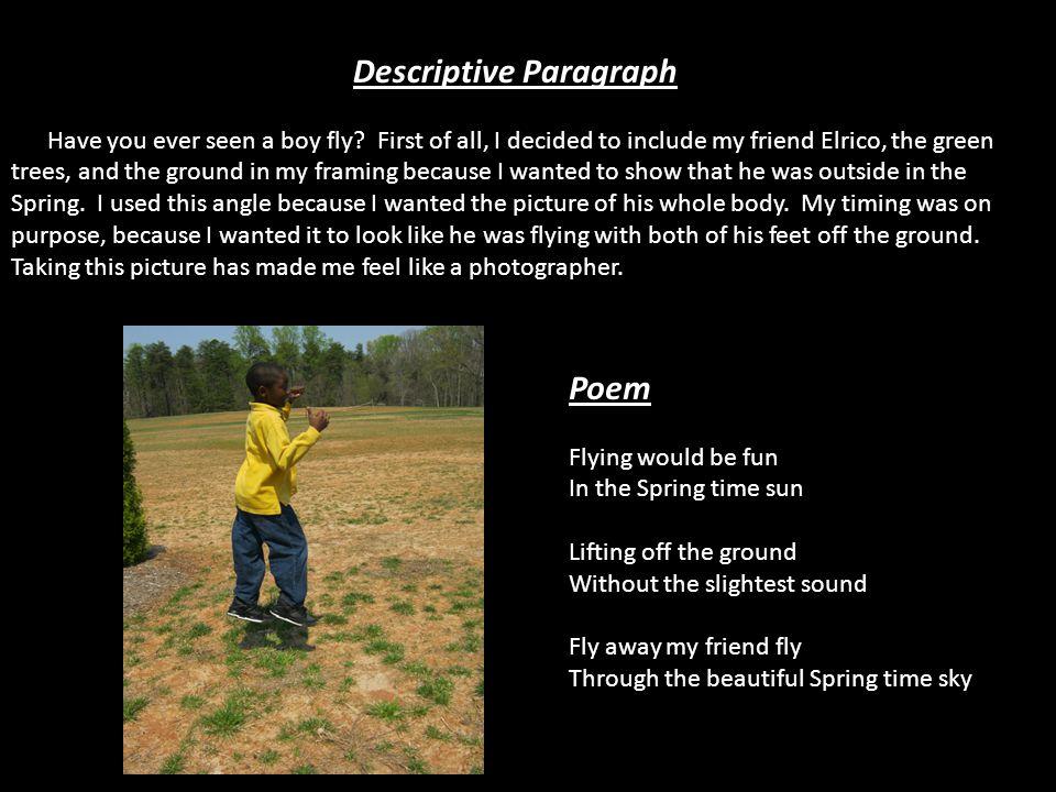 Descriptive Paragraph Have you ever seen a boy fly.