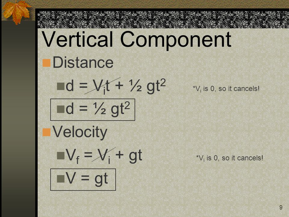 9 Vertical Component Distance d = V i t + ½ gt 2 *V i is 0, so it cancels.