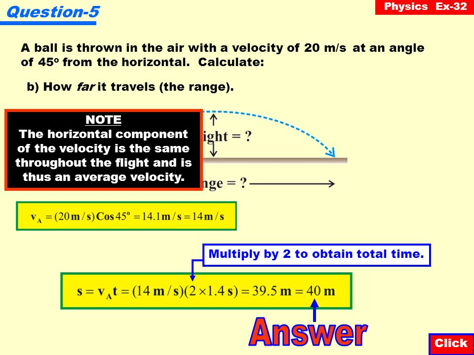 Physics Ex-32 Question-5 Click A ball is thrown in the air with a velocity of 20 m/s at an angle of 45 o from the horizontal.