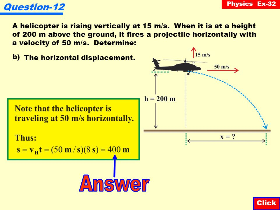 Physics Ex-32 Question-12 Click A helicopter is rising vertically at 15 m/s. When it is at a height of 200 m above the ground, it fires a projectile h