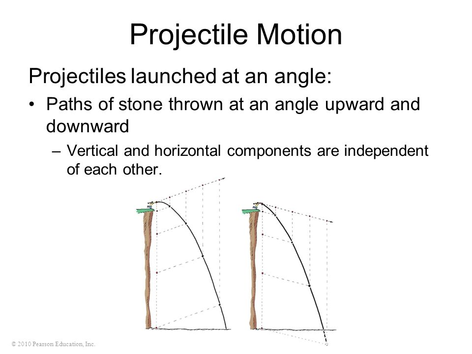 © 2010 Pearson Education, Inc. Projectile Motion Projectiles launched at an angle: Paths of stone thrown at an angle upward and downward –Vertical and