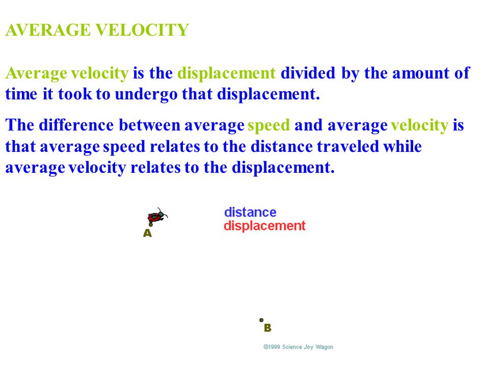 AVERAGE VELOCITY Average velocity is the displacement divided by the amount of time it took to undergo that displacement. The difference between avera