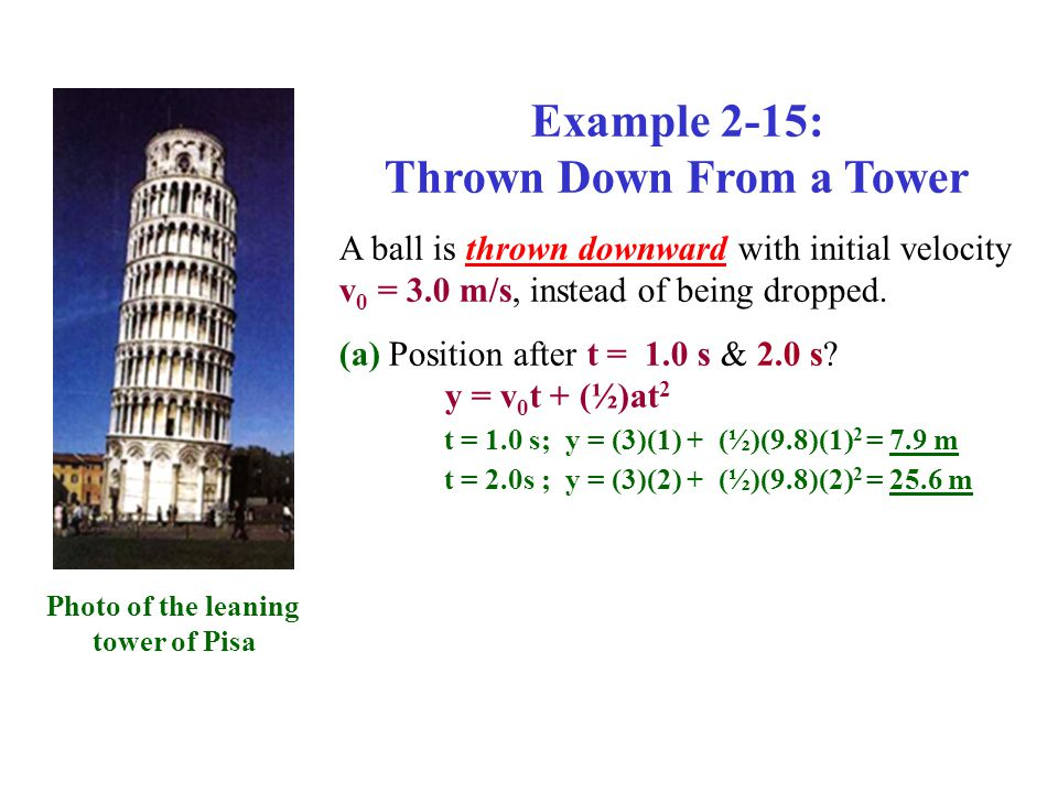 Example 2-15: Thrown Down From a Tower A ball is thrown downward with initial velocity v 0 = 3.0 m/s, instead of being dropped.