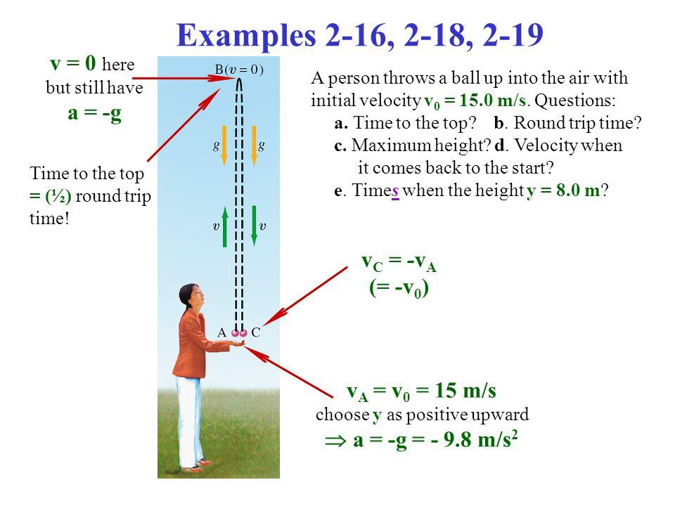 Example 2-19: Ball thrown upward; the quadratic formula.