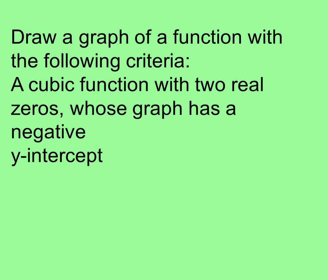 Draw a graph of a function with the following criteria: A cubic function with two real zeros, whose graph has a negative y-intercept